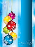 Christmas greeting card in blue. Christmas greeting card design with color decorations Stock Images