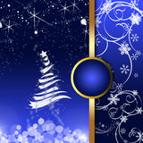 Christmas greeting card. Blue Christmas card with abstract Christmas tree, snowflakes and ornaments vector illustration