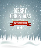 Christmas greeting card on blue background with snow and tree. Happy New Year message Stock Image