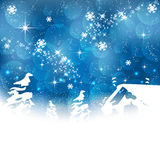 Christmas greeting card on a blue background Stock Photography