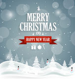 Christmas greeting card on blue background with snowman. Happy New Year message Stock Photo