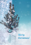 Christmas greeting card in blue and silver, caption Royalty Free Stock Photo