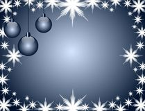 Christmas greeting card in blue with decorations Stock Photography