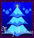 Christmas greeting card in blue with tree Stock Images