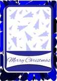 Christmas greeting card in blue with trees Royalty Free Stock Photos