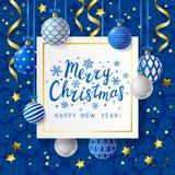 Christmas greeting card with Xmas balls Royalty Free Stock Image
