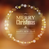 Christmas greeting card with bokeh lights wreath,  Royalty Free Stock Image