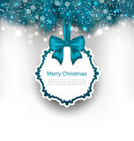 Christmas Greeting Card with Bow Ribbon Stock Image