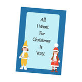 Christmas Greeting Card. Boy and Girl on the blue background. Vector illustration Stock Image