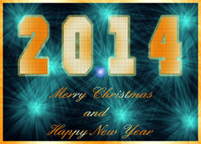Happy New Year 2014. Christmas Greeting Card 2014. Bright Christmas card Royalty Free Stock Image