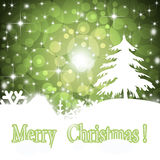 Christmas Greeting Card 2014. Bright green Christmas card.Winter New Year background Royalty Free Stock Image