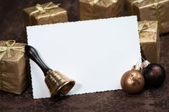 Christmas Greeting card on brown background Royalty Free Stock Photography