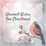 Christmas greeting card with bullfinch and branch. With berries. Abstract bokeh background. Vector eps10 royalty free illustration