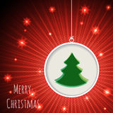 Christmas greeting card with bursting snowflakes and green chris Royalty Free Stock Photo