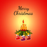 Christmas Greeting Card with candle. Royalty Free Stock Photography