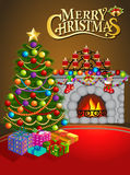 Christmas greeting card with candles Christmas tree Stock Photography