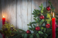 Christmas greeting card with candles Royalty Free Stock Images