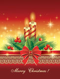 Christmas greeting card 2014. Christmas card with candles in decorative design Royalty Free Stock Image
