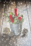 Christmas greeting card with candles Stock Photography