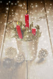 Christmas greeting card with candles Stock Photos