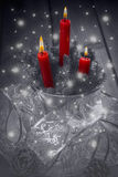 Christmas greeting card with candles Royalty Free Stock Photos