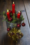 Christmas greeting card with candles Royalty Free Stock Image