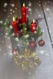 Christmas greeting card with candles Royalty Free Stock Photography