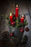 Christmas greeting card with candles Royalty Free Stock Photo