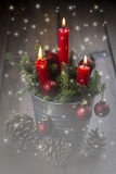 Christmas greeting card with candles Stock Photo