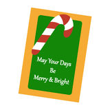Christmas Greeting Card. Candy Cane on the green background. Vector illustration Stock Image