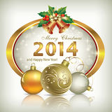 Christmas greeting card 2014. 2014 Christmas cards with balls and bells Stock Images