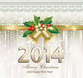 Christmas greeting card 2014. 2014 Christmas cards with bells in artistic and decorative design Royalty Free Stock Image