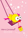 Christmas greeting card with cartoon bird. Place f Stock Photo