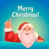 Christmas greeting card with cartoon Santa Claus pointing up Stock Photography