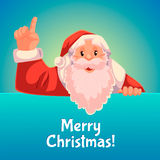 Christmas greeting card with cartoon Santa Claus pointing up Stock Image