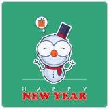 Christmas greeting card with cartoon snowman. Stock Photos