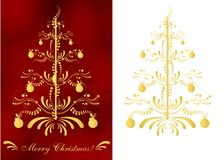 Christmas greeting card, cdr vector. Set of two Christmas greeting cards with abstract golden Christmas tree on red background and one isolated on white, vector stock illustration