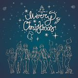 Christmas Greeting Card With Cheerful People Silhouettes Celebrating Winter Holidays Poster Royalty Free Stock Images