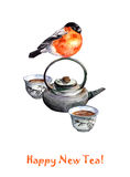 Christmas greeting card - chinese tea set and cute bird. Christmas greeting card with chinese set for tea ceremony and cute bird. Watercolor Stock Photography
