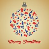 Christmas greeting card with christmas ball with blue and red small decoration icons on gradient background and sign Merry. Christmas royalty free stock images