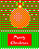 Christmas Greeting Card with Christmas ball. On the checkered background. Elegant Winter Design of banner or poster. Vector illustration Royalty Free Stock Photos