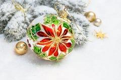 Christmas greeting card. Christmas bauble, branches of Christmas Stock Photo