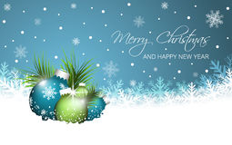 Christmas  greeting card. Christmas baubles, pine-needles and snowflakes. Royalty Free Stock Photo