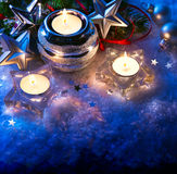 Christmas greeting card with christmas decoration Stock Images