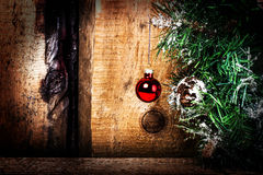 Christmas greeting card with Christmas Decorations on  grunge wo Stock Image