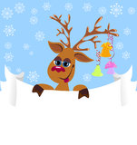 Christmas greeting card with christmas deer Royalty Free Stock Images