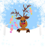 Christmas greeting card with christmas deer Stock Photography