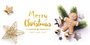 Christmas greeting card; Christmas element on white background; top view. Art Christmas greeting card; Christmas element on white background; top view royalty free stock images