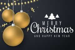 Christmas greeting card. Christmas golden balls hang. Flying confetti with serpentine. Glowing gold light garland. Web banner. vector illustration
