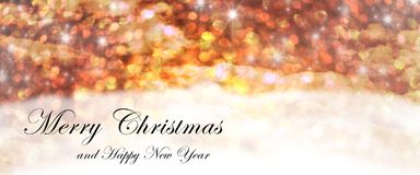 Christmas greeting card. With abstract yellow sky Royalty Free Stock Images